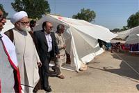 بازدید نماینده رهبر معظم انقلاب از اردوگاه ثارالله محل استقرار سیل زدگان در خوزستان