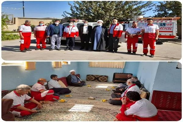 بازدید مسئولین دفتر نمایندگی هلال احمر قم از پایگاه امداد شهید صابری جعفرآباد